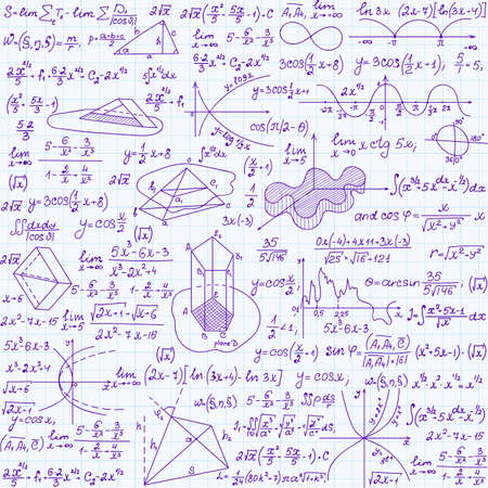 Mathematical vector seamless texture with figures, equations and calculations. Endless math texture, handwritten on copybook paper sheet