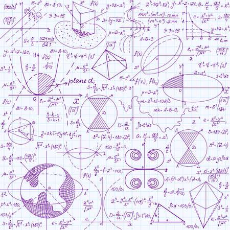 integral: Matem�ticas vectorial educaci�n sin patr�n, con f�rmulas escritas a mano, tareas, parcelas, los c�lculos y las figuras geom�tricas. Endless textura manuscrita en tinta violeta sobre papel cuadriculado cuaderno