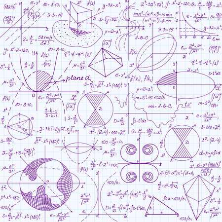 grid paper: Math education vector seamless pattern with handwritten formulas, tasks, plots, calculations and geometrical figures. Endless texture handwritten in violet ink on copybook grid paper Illustration