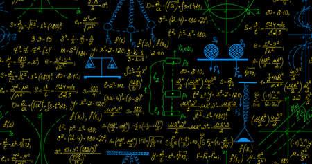teorema: Cient�fico vector sin patr�n con f�rmulas matem�ticas y f�sicas, diagramas y c�lculos, diferentes colores