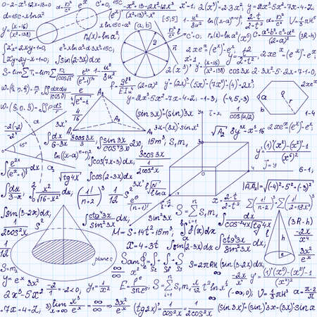 parabolic: Math vector seamless texture with equations, formulas, plots, figures and other mathematical calculations, handwritten on a copybook paper Illustration