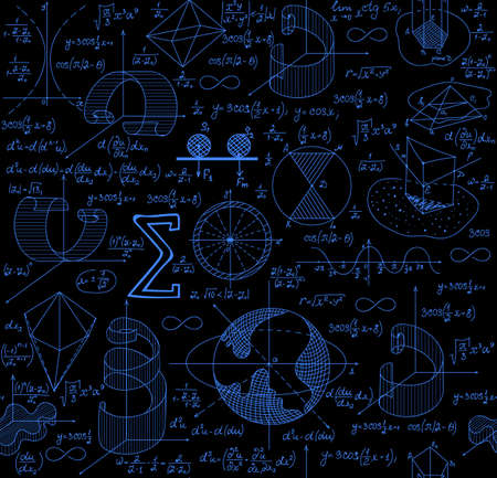 plots: Mathematical vector seamless pattern with figures, formulas and plots, different colors Illustration