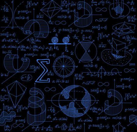 teorema: vector sin patr�n matem�tico con las figuras, f�rmulas y gr�ficos, diferentes colores