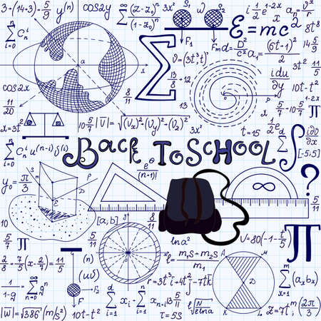 mathematician: Beautiful vector seamless texture with school tools, spheres, other geometrical figures, equations and calculations, Back to school. Educational endless texture