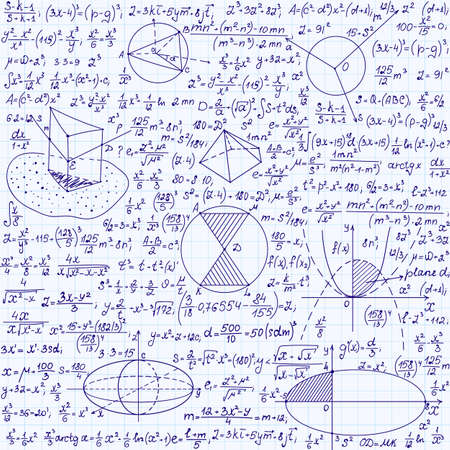 Science vector seamless pattern with equations, formulas, plots, figures, mathematical calculations, handwritten on a copybook paper Illustration