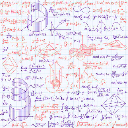 Mathematical vector seamless pattern with formulas, plots and equations, blue and red pen written calculations Illustration