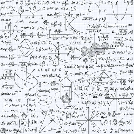 Mathematical vector seamless pattern with formulas, plots and equations, handwritten texture on a copybook paper sheet Illustration