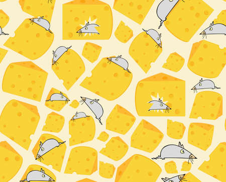 morsel: Food vector seamless texture with little grey mice on slices of cheese