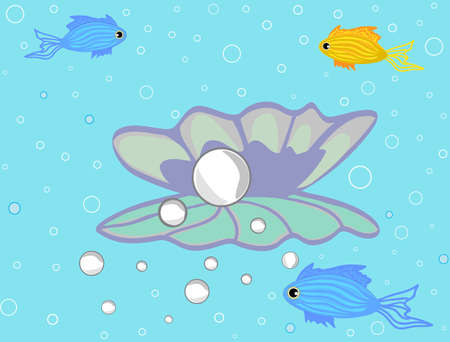 pearl shell: Vector illustration with sea fish and pearl in shell