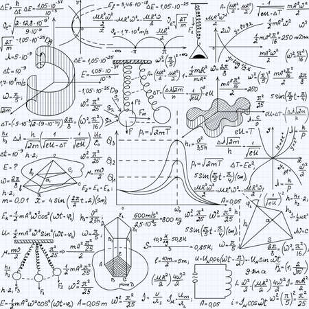 Physical vector seamless pattern with the equations, figures, schemes, plots and other calculations, handwritten texture on a copybook paper sheet