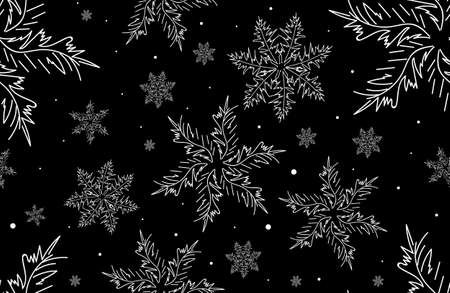 figured: Beautiful vector Happy New Year seamless texture with figured curling snowflakes Illustration