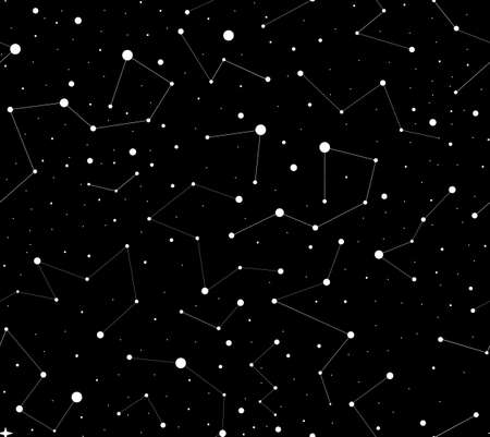 Cosmic vector endless texture with shining stars and constellations on the night sky