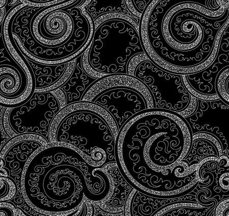 figured: Abstract vector seamless pattern with ornament of curling lines and figured shapes