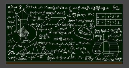 School vector blackboard with handwritten mathematical formulas, calculations and figures