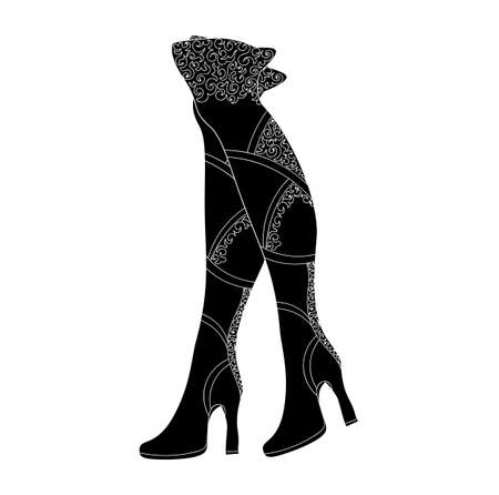 wellingtons: Pair of women boots with figured pattern. Vector
