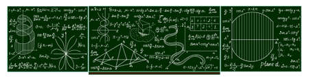 trigonometry: Vector school blackboard with handwritten mathematical calculations, plots, formulas