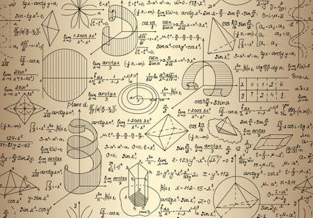 Math endless texture with mathematical formulas and calculations, handwritten on the old paper Illustration