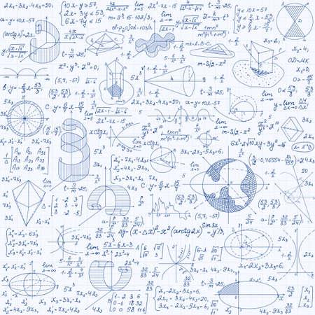 Vector de educación matemática de patrones sin fisuras con figuras, fórmulas escritas a mano, tareas, diagramas y cálculos. Fondo matemático escrito a mano en un papel cuadriculado, textura interminable