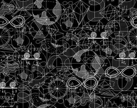 matematicas: la textura infinita matemática con parcelas barajadas y figuras matemáticas. Se puede utilizar cualquier color de fondo Vectores
