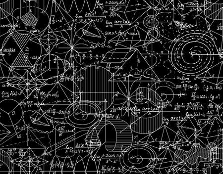 Math vector endless texture with shuffled mathematical calculations, formulas, figures