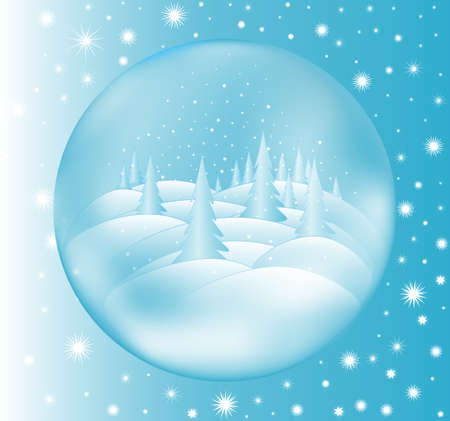 snowbank: Crystal ball with winter forest scene inside. Happy New Year and Christmas vector background Illustration