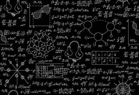 Scientific vector endless texture with chemical and physical formulas, tasks, plots Ilustracja