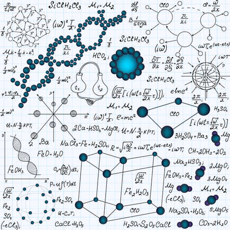 Chemistry vector seamless pattern with dna molecules, crystal lattice and other chemical formulas, handwritten on a copybook paper Illustration