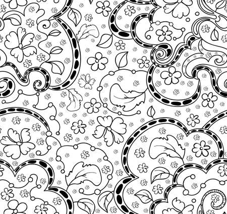 ringlet: Floral abstract vector seamless pattern with leaves, flowers, curling lines