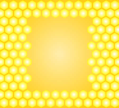 apiculture: Honey vector frame with yellow honeycombs
