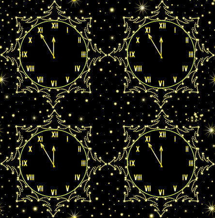 five o'clock: Happy New Year vector seamless pattern with golden clock showing five minutes to midnight