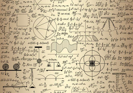 mathematics symbol: Vector seamless endless mathematical texture with math and physical figures, plots and formulas, handwritten on the old copybook paper