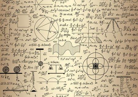 """simbolos matematicos: Vector sin fisuras textura matemática sin fin con las matemáticas y físicas figuras, diagramas y fórmulas, """"escrito a mano en el papel viejo cuaderno"""""""