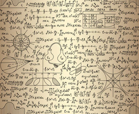scalar: Scientific vector seamless pattern with physical and mathematical drawings, task solutions, plots, designs, formulas, handwritten on the old paper