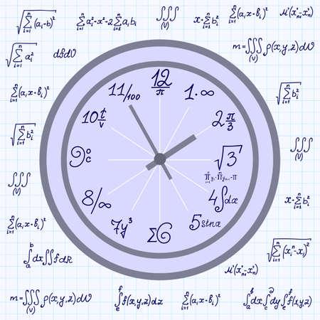 integral: Vector de fondo con el reloj matem�tica matem�ticas