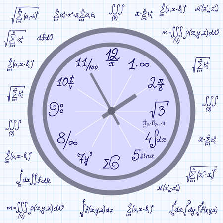 mathematical: Vector mathematical background with math clock