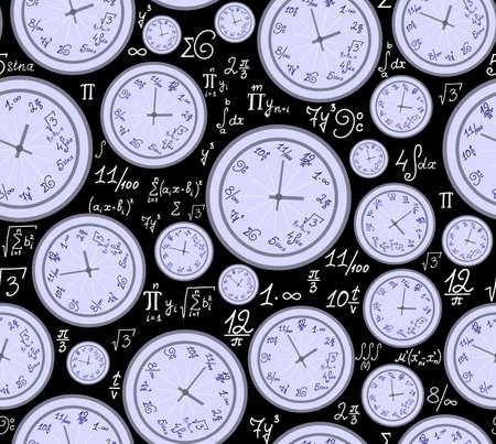 summarize: Math vector endless texture with mathematical clocks, formulas and equations