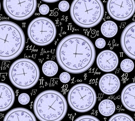 Math vector endless texture with mathematical clocks, formulas and equations