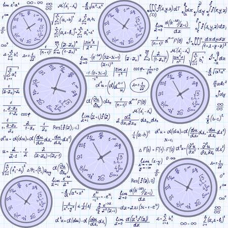 summarize: Math vector endless texture with mathematical clocks, formulas and equations, handwritten on a copybook paper