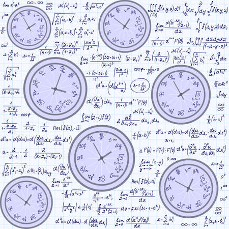 Math vector endless texture with mathematical clocks, formulas and equations, handwritten on a copybook paper