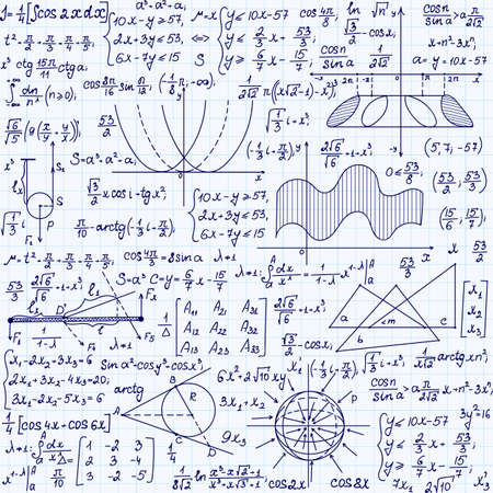 copybook: Mathematical vector seamless pattern with formulas, plots, task solutions, handwritten on a copybook paper