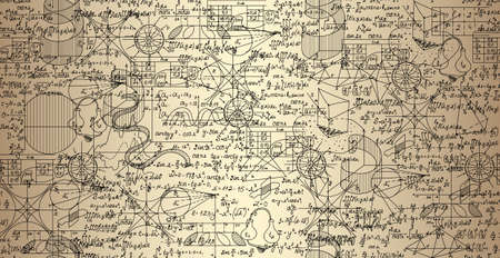 Mathematical vector seamless pattern with plots and formulas shuffled together, handwritten on the old paper