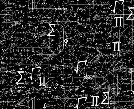theorem: Math scientific vector seamless pattern with formulas, figures, plots shuffled together