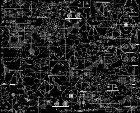 Científico vector sin patrón con matemáticas y físicas fórmulas, diagramas de química y esquemas gráficos, barajados juntos. Textura de matemáticas sin fin. Usted puede usar cualquier color de fondo Foto de archivo - 48362878