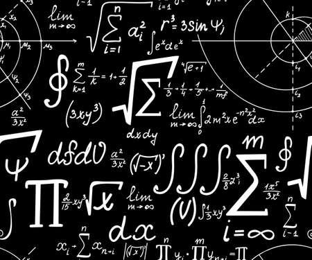 signos matematicos: Matemática Textura inconsútil con varios matemáticos signos, cálculos y fórmulas Vectores