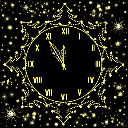12 o'clock: Happy New Year vector background with shining snowflakes and golden clock showing five minutes to midnight