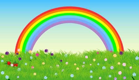 rainbow sky: Rainbow sky and green spring meadow, vector background Illustration
