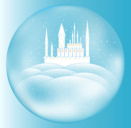 Vector snow queens castle inside crystal ball
