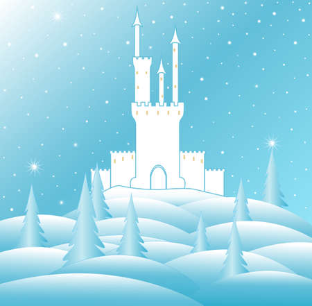 Merry Christmas vector illustration with snow queen's castle in frozen winter forest