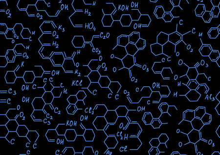 vector  molecular: Chemistry vector seamless pattern with molecular formulas and combinations. Endless scientific texture