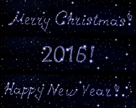 quark: Vector words Merry Christmas!, 2016 and Happy New Year! written in stars on space starry background